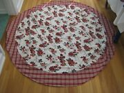Vintage Style Rusty Red Roses Floral And Plaid White Cotton Tablecloth 65 Round