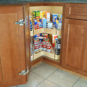 Rotating Lazy Susan With Pullout Drawers For 36 Inch Kitchen Corner Cabinet
