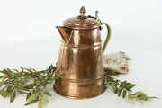 Copper And Brass Antique Hammered Farmhouse Coffee Pot 38101