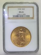 1924 20 Gold Coin St Saint Gaudens Double Eagle Ngc Ms65