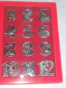 Twelve Days Of Christmas Ornament Set 12 Metal Ornaments And Red Ribbons Bon-ton