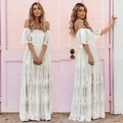 S New Boho Lux White Lace Maxi Summer Beach Wedding Party Dress Womens Small