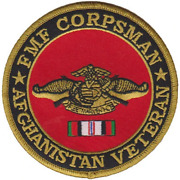 4 Fmf Corpsman Afghanistan Veteran Flag Seal Military Round Embroidered Patch