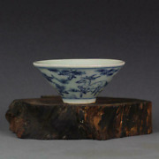 Antique Chinese Blue And White Porcelain Design Teacup Bowl 3.2 Inch