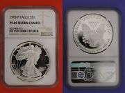 1993 P Pf 69 Eagle Ngc Ultra Cameo Certified Graded Authentic Silver Oce 190