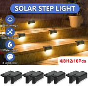 4-16pcs Solar Deck Lights Yard Path Led Garden Pathway Step Stairs Fence Lamp