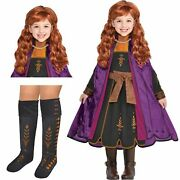 Party City Frozen 2 Anna Costume Kit For Girls Small Includes Dress Wig And