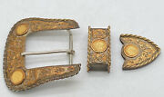 Vintage Boyd Reno Sterling Silver And 14k Gold 3 Piece Belt Buckle Set W/4 1 Gold