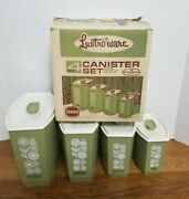 Vintage Lustro Ware Avocado Green Kitchen Canisters Unused Open Box Nesting