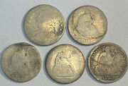 1882 1887 10¢ Seated Liberty Us And Seated Liberty 10¢ 3 Coin. 5 Silver Coin Set
