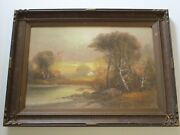 Nice Antique Wood Carved Frame Art Deco Era American With Pastel Drawing Sunset