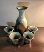 Vintage Pottery Craft Handcrafted Stoneware Vino Decanter And 4 Cups