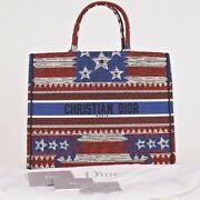 New 3050 Christian Dior American Flag Embroidered Canvas Large Book Tote Bag