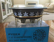 Vintage Pyrex Black Casserole Dish And Candle Warmer With Box And Candle Snowflake