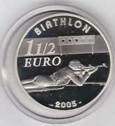 2005 France Olympics Silver Proof One And A Half Euro In Mint Condition + Capsule