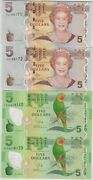 4 Consecutive Fiji P110b Issued And P1115r Replacement 5 Notes In Mint Condition