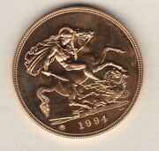 Boxed 1994 United Kingdom Brilliant Uncirculated Gold Andpound5 Coin With Certificate.