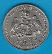 1970 Dominica Cupro Nickel Four Dollar Crown In Near Mint Condition.