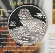 1998 Zambia Lion Silver Proof 100 Kwacha With Capsule And Certificate.