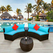 4pcs Outdoor Sectional Half Round Patio Rattan Sofa Set W/ Storage And Round Table