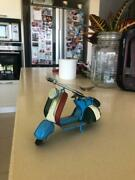 Vintage Motorcycle Toy Plastic Rubber Metal Blue Old Suvenier From Italy