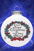 Our First Christmas In Our New Home Wreath Made In Usa Glass Christmas Ornament