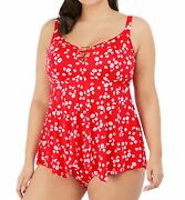 Elomi Plain Sailing Es7271 Non-wired Moulded Tankini Top Red Floral 20 Cs