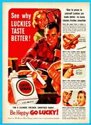 1952 Lucky Strike Cigarette Pack 50and039s Luckies Couple Gardening Raking Print Ad