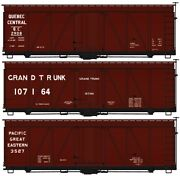 H0 Accurail 8135-36' Wood Boxcar 3-car Set - Quebec Central, Pacific Great Easte