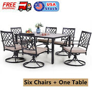 6 Person Patio Dining Furiniture Set Swivel Chair With Cushion Rectangular Table