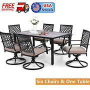 Modern Furniture Set Outdoor Dining Table Patio Swivel Chair For 6 Person Party
