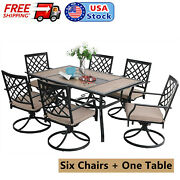 Patio Dining Tables With Umbrella Hole Swivel Chairs Outdoor Furniture Set Of 7