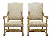 Pair Of 19th Century Carved French Baroque Throne Armchairs