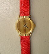 Piaget Solid 18k Yellow Gold Ladies Polo Watch With Red Lizard Band