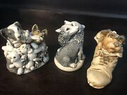 Harmony Kingdom Treasure Jests Solemate,perished Teddies, Mates For Life Wolves