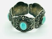 Antique Chinese Export Sterling Silver Dragon Turquoise Panel Link Bracelet