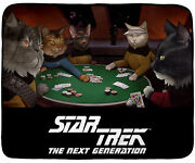 Star Trek The Next Generation Cat Characters Playing Cards Plush Throw Blanket