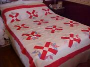 Vintage 1930s Quilt, Red X And Multicolored Details Design, As Is Cutter