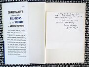 1957 Arnold Toynbee Signed And Inscribed Note Of Sympathy In A First Ed. Book