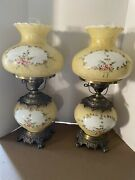 Vtg. Pair Of Hurricane Gwtw Floral Design Parlor Lamp Hand Painted
