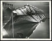 Uss Normandie 1946 Former French Liner New York Pier Wwii Type 1 Original Photo
