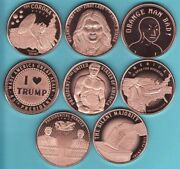 Donald Trump 8 Coin Set 1 Oz. Copper Rounds Series 3 Flaws And Blemishes