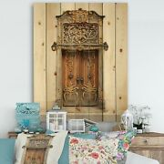 Designart And039old Door With Gold Ornamentsand039 Vintage Print On Small