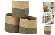 Round Storage Cube Baskets 3 Pack, 11x11x11 Woven Rope Storage Black And Jute