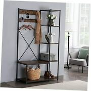 Coat Rack Benchhall Tree With 7 Hooks Entryway Storage 4 With Shoe Bench