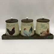 Set Of 4 Pc Wooden Rooster/chicken Country Farm Kitchen Canisters