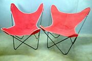 Two Vintage Red Canvas Mid Century Butterfly Chairs Solid Steel Knoll Hardoy Era