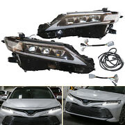 For Toyota Camry 2018-2020 2021 Clear Lens Led Drl Headlight Left+right W/bulbs