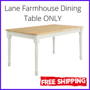 Farmhouse Dining Table Autumn Lane White And Natural Room Kitchen Table Only