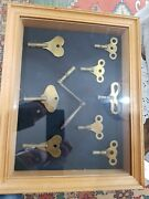 Box Frame Wind Up 9 Clock Keys, Various Sizes Antique Picture Frame Grandfather